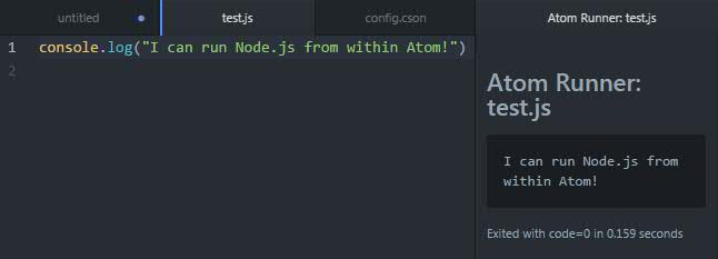Running Node.js in Atom