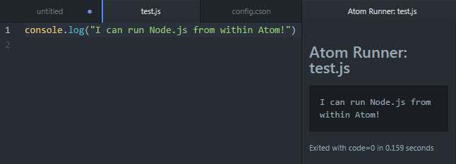 Running Node.js in Atom