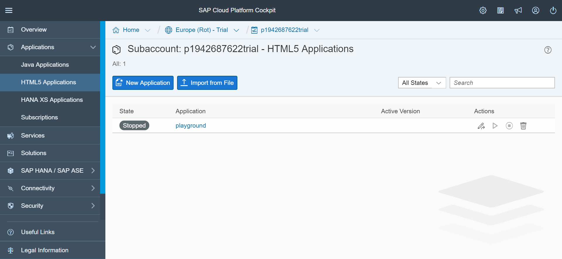 SAP Web IDE cockpit screenshot, showing the dashboard