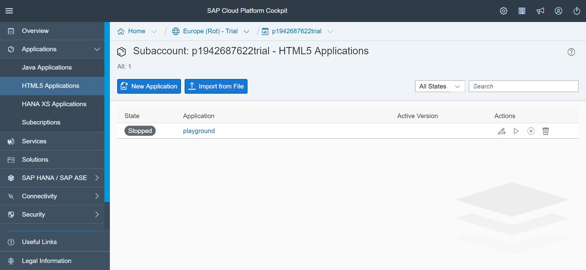 SAP Web IDE cockpit screenshot, showing the dashboard