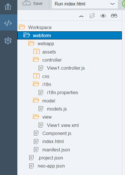 Screenshot of a typical project workspace