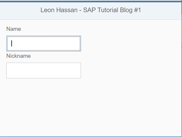 Screenshot of bare-bones application using some UI5 Layout controls