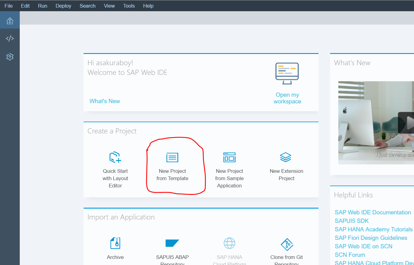 Screenshot of SAP Web IDE and how to create a project from template