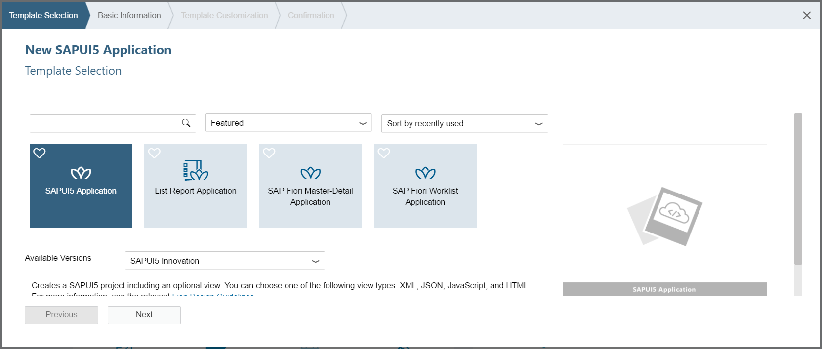 Screenshot of creating a SAPUI5 application