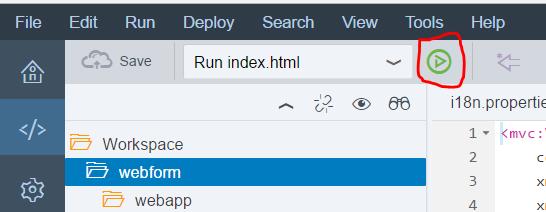 Screenshot of the run button in SAP Web IDE