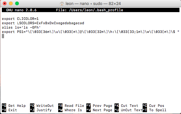 Screenshot of bash profile contents