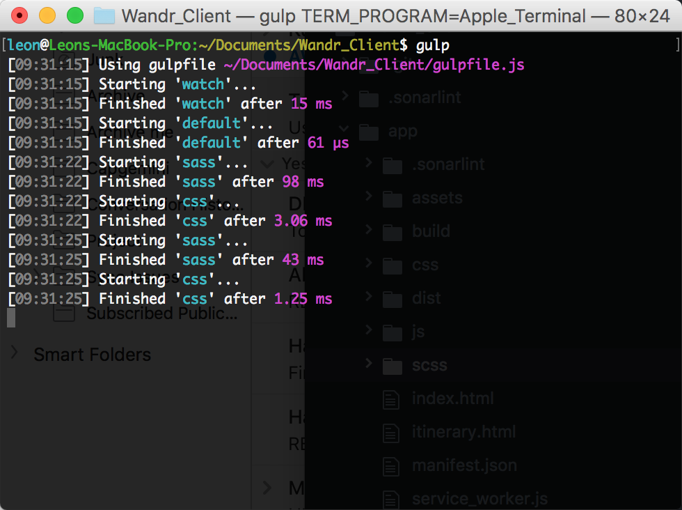 Screenshot of the Gulp running watchers for SCSS and CSS