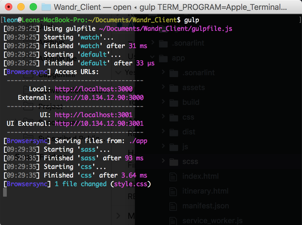 Screenshot of Gulp running with BrowserSync