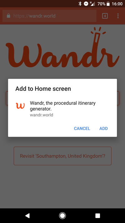 Installing Wandr PWA on Android