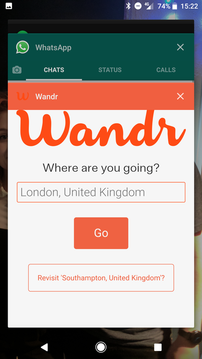 Wandr launched as a PWA from my mobile's homescreen