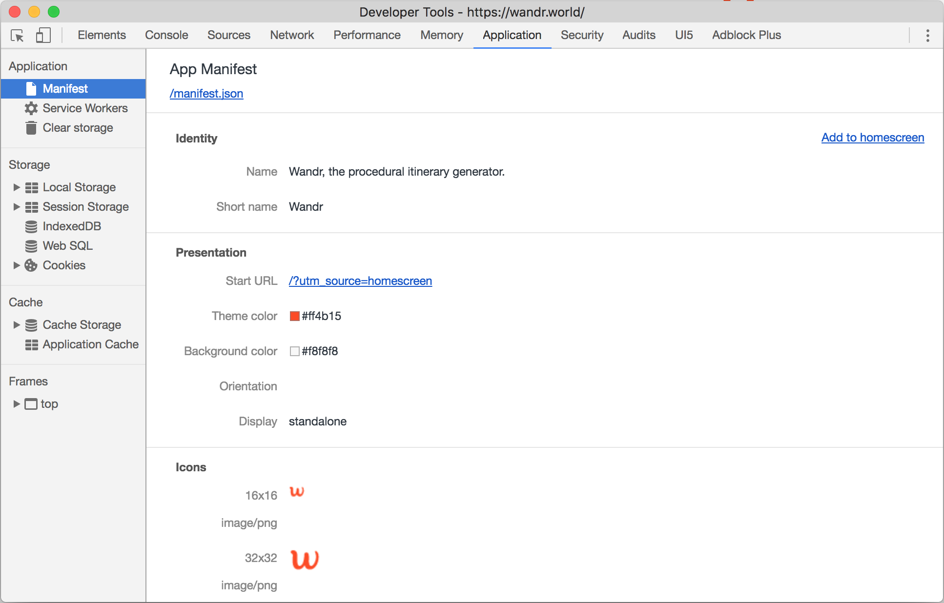 Manifest as shown in Chrome Developer Tools for https://wandr.world